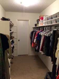 Closet After The Spruce Goose Organized (Left Side): Clothes are now organized by type, shoes are stacked above in bins and sweaters are stacked by color on shelves. It's easy to get ready now!