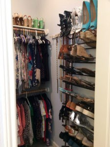 A woman's closet after The Spruce Goose organized. A shoe rack is a big help.